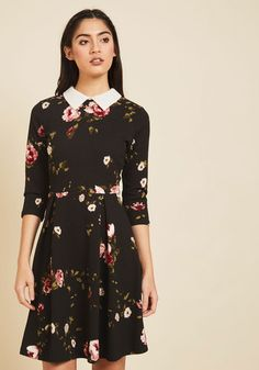 Simplistic Sophistication A-Line Dress - Black, Pink, Floral, Print, Work, Daytime Party, A-line, Shirt Dress, 3/4 Sleeve, Fall, Winter, Knit, Better, Exclusives, Store 1, Mid-length