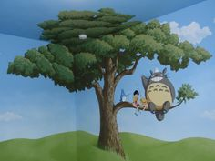 Includes large tree mural and clouds and sky mural