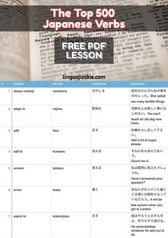Learn the top 500 Japanese Verbs. Please share the... - Linguajunkie.com