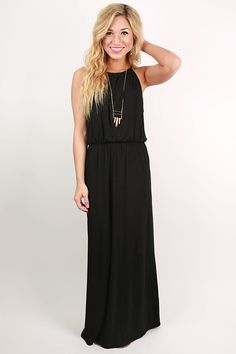 The high neck of this simple maxi dress makes it both classy and flattering!