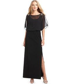 Xscape Short Split Sleeve Beaded Evening Gown - this is the one!