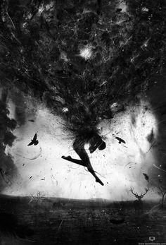 Je trouve qu'il y a une émotion de tristesse, de désespoir ou encore de peur qui se dégage de cet oeuvre puisque les couleurs exploitées sont tr`s sombres. En fait, les teintes de gris avec le blanc et le noir provoquent de très beaux effets de lumière. Je trouve que les proportions entre l'humain, les oiseaux et l'arrière plan sont réels.