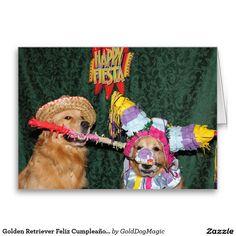 Golden Retriever Feliz Cumpleaños Piñata Birthday Stationery Note Card