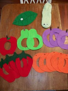 The Very Hungry Caterpillar - DIY felt foods and sock sock puppet caterpillar.  A fun way to talk about and introduce new foods.  Visit pinterest.com/arktherapeutic  for more #feedingtherapy ideas