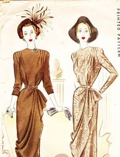 McCall 7115 Misses' Vintage 1940s Dress with Front Drape and Sleeve Variations Sewing Pattern by DRCRosePatterns on Etsy