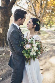 Wedding Dress: Bohemian Brides - http://www.stylemepretty.com/portfolio/bohemian-brides Suit: Mango - http://www.stylemepretty.com/portfolio/mango-2 Photography: I Heart Weddings - http://www.stylemepretty.com/portfolio/i-heart-weddings   Read More on SMP: http://www.stylemepretty.com/australia-weddings/2015/07/21/rustic-autumn-park-wedding-in-perth/