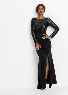 A gorgeous evening dress with a shimmering sequin bodice and a full length skirt. 146 cm in) Corsage, Robes D'occasion, Full Length Skirts, Black Evening Dresses, Flirt, Boutique Dresses, Sequin Dress, Occasion Dresses, Bodice