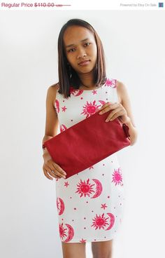 ON SALE Red leather foldover clutch  Large oversized by BarLeather