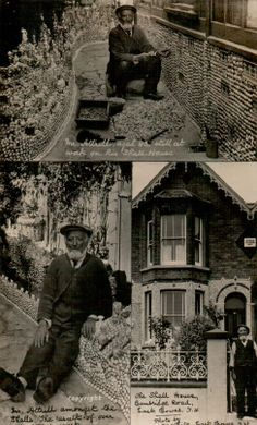 """The Shell House, (formerly 1 Myrtle Cottages), 35 Cambridge Road, East Cowes, Isle of Wight, Hampshire. The original decoration of house and garden, now removed, was the work of Frederick James Attrill (1839-1926) between 1916 and 1926. In the 1970s, a subsequent owner, Walter Frederick """"Fred"""" Spencely (1895-1974), added a ship panel which can still be seen from the road today."""