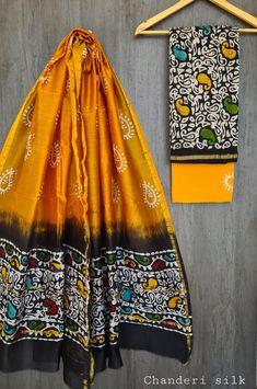 Price Rs 1600 + Shipping extra Hand block Printed chanderi silk dress materials Top and dupattas chanderi silk (2.50×2 mtrs) Bottom cotton (2.50 meters) Chanderi Suits, Chanderi Silk Saree, Patiala Suit, Churidar Suits, Anarkali Suits, Silk Sarees, Salwar Kameez, Silk Suit, Kurta Designs