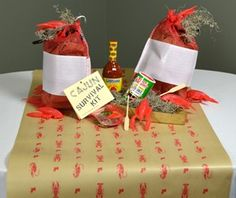 Crawfish sacks for an easy Cajun centerpiece  - They are festive and inexpensive ($0.79 each).The plain white label area on the crawfish sack can even be personalized for your event. Either hand write something clever or print a large white sticker label for the area.