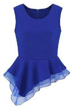 ROMWE | Asymmetric Sleeveless Blue Blouse, The Latest Street Fashion  #ROMWEROCOCO. - black and white print blouse, work blouse styles, blouse tops *ad