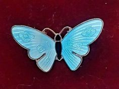 VINTAGE NORWAY SILVER GILT & GUILLOCHE ENAMEL BUTTERFLY BROOCH