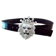 Jewelry Belt; Crowned Lion Pave Buckle, Swarovski crystal stones, Crocodile skin strap, Retail $583...SALE $295 (1 1/2 in wide)