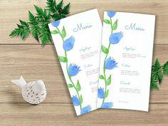 Printable Wedding Menu Watercolor Wedding Menu Floral Wedding Menu, Wedding Suits, Floral Wedding, Wedding Ideas, Printable Wedding Invitations, Wedding Invitation Suite, Printable Menu, Watercolor Design, Watercolor Wedding