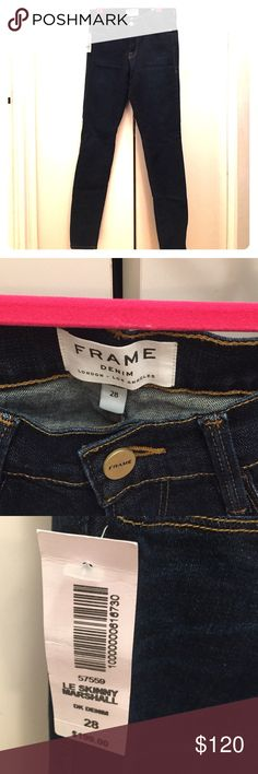 """Frame Le Skinny Marshall Dark Blue Denim Jeans Frame Le Skinny Marshall Dark Indigo Blue Denim Jeans. Size 28"""". NWT. 37.5"""" length from waistband. 29"""" inseam. Mid rise. Awesome, perfect fit but I truly have enough jeans. Frame Jeans Skinny"""