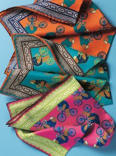 Silk Biking Ape Pocket Squares