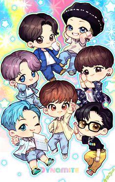 Bts Group Picture, Bts Group Photos, Bts Chibi, Anime Chibi, Cartoon Wallpaper, Bts Wallpaper, Bts Taehyung, Bts Jungkook, Bts Bulletproof