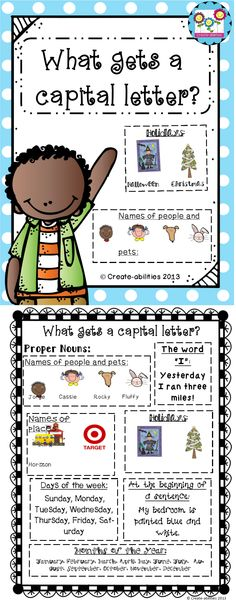 FREE! What gets a capital letter? Printable for students. Great reminder!  #capitalletters #grammar #freebie