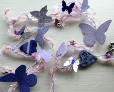 Butterfly garland - vertical butterfly garland - room decor -purple and lilac - mixed media garland -uk seller -