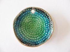 Green Earth Mandala Pendant Stoneware Clay