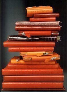 Orange Hermes Leather Notebooks