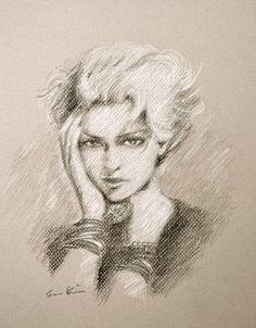 Original Art SALE - Madonna Original Charcoal Drawing