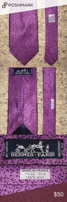 """Hermes Paris tie men's necktie Hermes men's necktie - width 3.5"""".. - length 57.5""""... Good pre-owned condition.. Has marks/stains that could possibly gone after dry cleaning. Please kindly check all photos and read description before purchase. Thank you Hermes Accessories Ties"""
