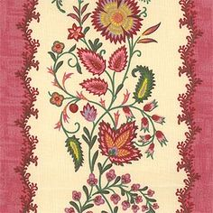 """Sirsa Ray (SKU: 73895)  Our Price: $19.99 per yard   Color: Framboise (prov 8)  Content: 100% Cotton  Country: France  Width: 59""""  Repeat: V-12.625"""" H-27.75"""""""