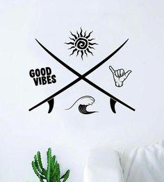 Vinyl Decor, Wall Decal Sticker, Vinyl Wall Decals, Wall Stickers, Surf Bedroom, Bedroom Art, Surfer Room, Good Vibes Tattoo, Surf Tattoo