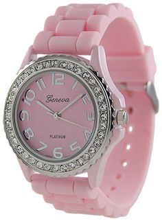 Geneva Platinum CZ Accented Silicon Link Watch, Large Face    Price: $6.49