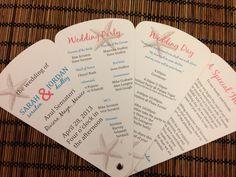 Starfish Petal Fan Wedding Program Deposit. $50.00, via Etsy.