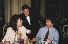 Viviane Senna - Ayrton Senna (appears to have a cast on his right arm) - Alain Prost -