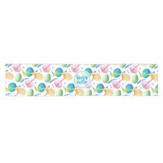 Colorful Easter Eggs and Paint Splash Short Table Runner - happy easter egg holiday family diy custom personalize