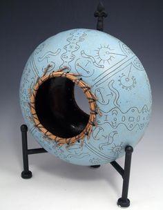 Blue Urchin by Melanie Walter of Wilmington, NC. 2014 NICHE Awards Finalist. Category: Ceramics, Sculptural. #ceramics, #sculpture, #blue, #urchin