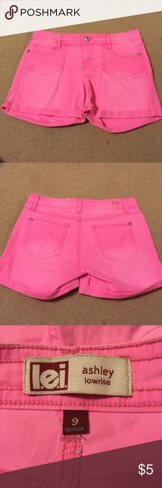 Neon pink shorts Super simple neon pink shorts that are fun to wear for summer! Never worn & I changed sizes since then! l.e.i. Shorts Jean Shorts