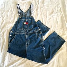 a28fe9aa Vintage Tommy Hilfiger Logo Strap Dark Wash Denim / Jean Overalls / Pants  Iconic Tommy overalls with rare WHITE/navy logo straps, TH patch & buttons  Size