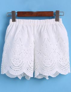 Elastic Waist Embroidered Hollow Shorts-Romwe
