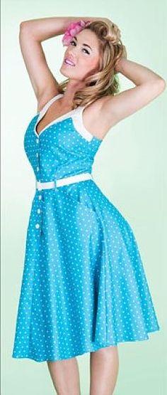 Sea Breeze polkadot Dress, Blå/hvit