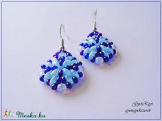 Kék színű rombusz fülbevaló (gyorgyi24) - Meska.hu