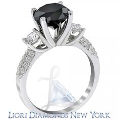 3.75 Carat Certified Natural Black Diamond Engagement Ring 14k White Gold - Side-stone Engagement Rings - Engagement - Lioridiamonds.com