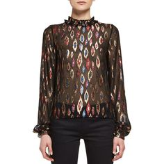 Saint Laurent Embroidered Peacock Ruffle-Collar Blouse (33.204.160 IDR) ❤ liked on Polyvore featuring tops, blouses, noir multico, peacock blouse, high neck blouse, bishop sleeve blouse, high neck top and embroidered top