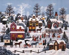 Pursuits of the Past by Jane Wooster Scott is a Limited Edition Fine Art Lithograph Print on Paper, Numbered in Sequence out of a total Edition Size of is Hand Signed by the Artist, and includes a Certificate of Authenticity. Christmas Scenes, Christmas Pictures, Christmas Art, Grandma Moses, Illustrations, Illustration Art, Christmas Paintings, Winter Art, Naive Art