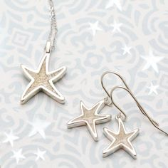 Delicate Starfish Drop Earrings and Sand Jewel Necklace by Dune Jewelry Dune, Starfish, Nautical, Delicate, Hoop Earrings, Jewels, Navy Marine, Jewelery, Jewelry