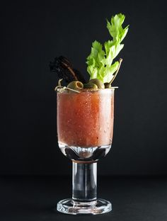 Bacon Bloody Mary....   some ingredients are vegetables and fruit