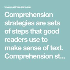 Seven Strategies to Teach Students Text Comprehension Comprehension Strategies, Reading Strategies, Reading Comprehension, Good Readers, Reading Intervention, Reading Resources, Make Sense, Literacy, Students