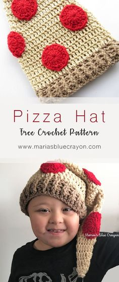 Free Crochet Pattern | Pizza Hat | Fun Hat for Toddlers/Kids | Crochet Food Hat | Maria's Blue Crayon