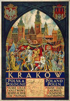 Vintage Cracow Krakow Poland Polish Railway Travel Poster
