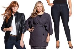 Love the left look!   (I would look like a tent in that coat and don't like tight pants on plus size bodies.)