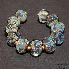 Lampwork Glass Beads Set Handmade Round Webbed by AKDlampwork, $84.00